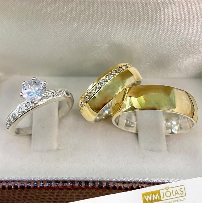 Aliança abaulada com 7 mm acompanha anel WM10273