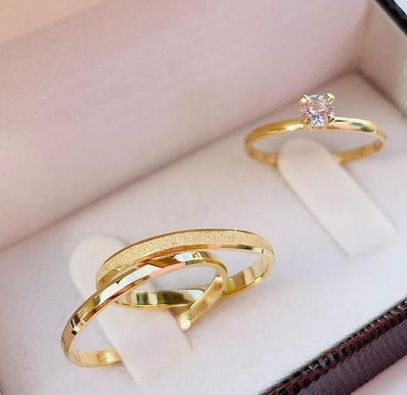 Aliança Chanfrada 3mm e anel solitário WM10303