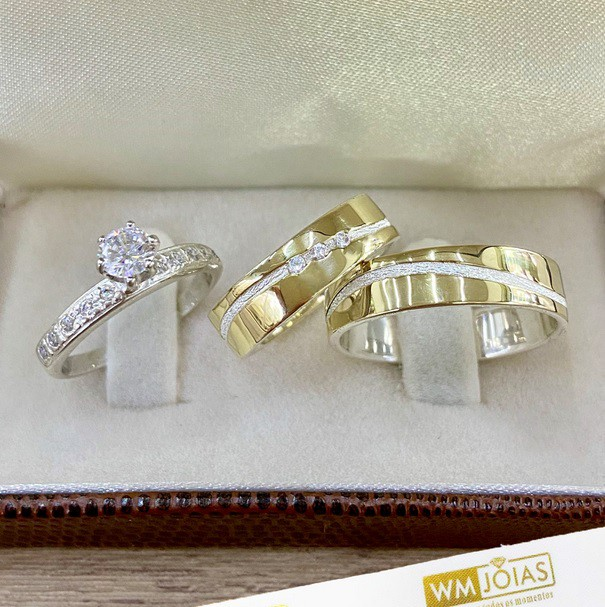 Aliança com anel ouro e prata WM10257