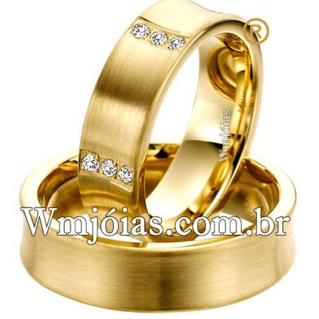 Aliança Côncava de ouro 18k750 com 6.5mm de largura e peso entre 11 e 13G WM3105