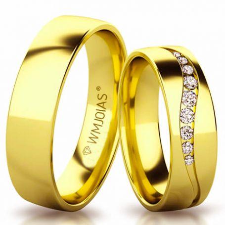 Aliança de casamento com pedras WM3150