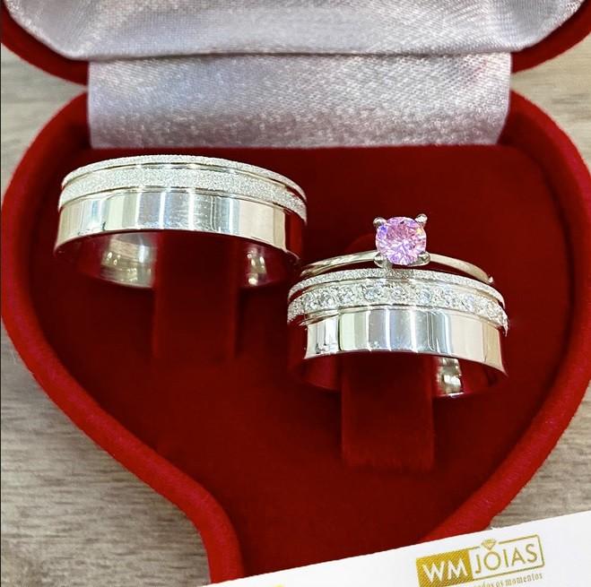 Aliança de namoro com anel prata WM10256