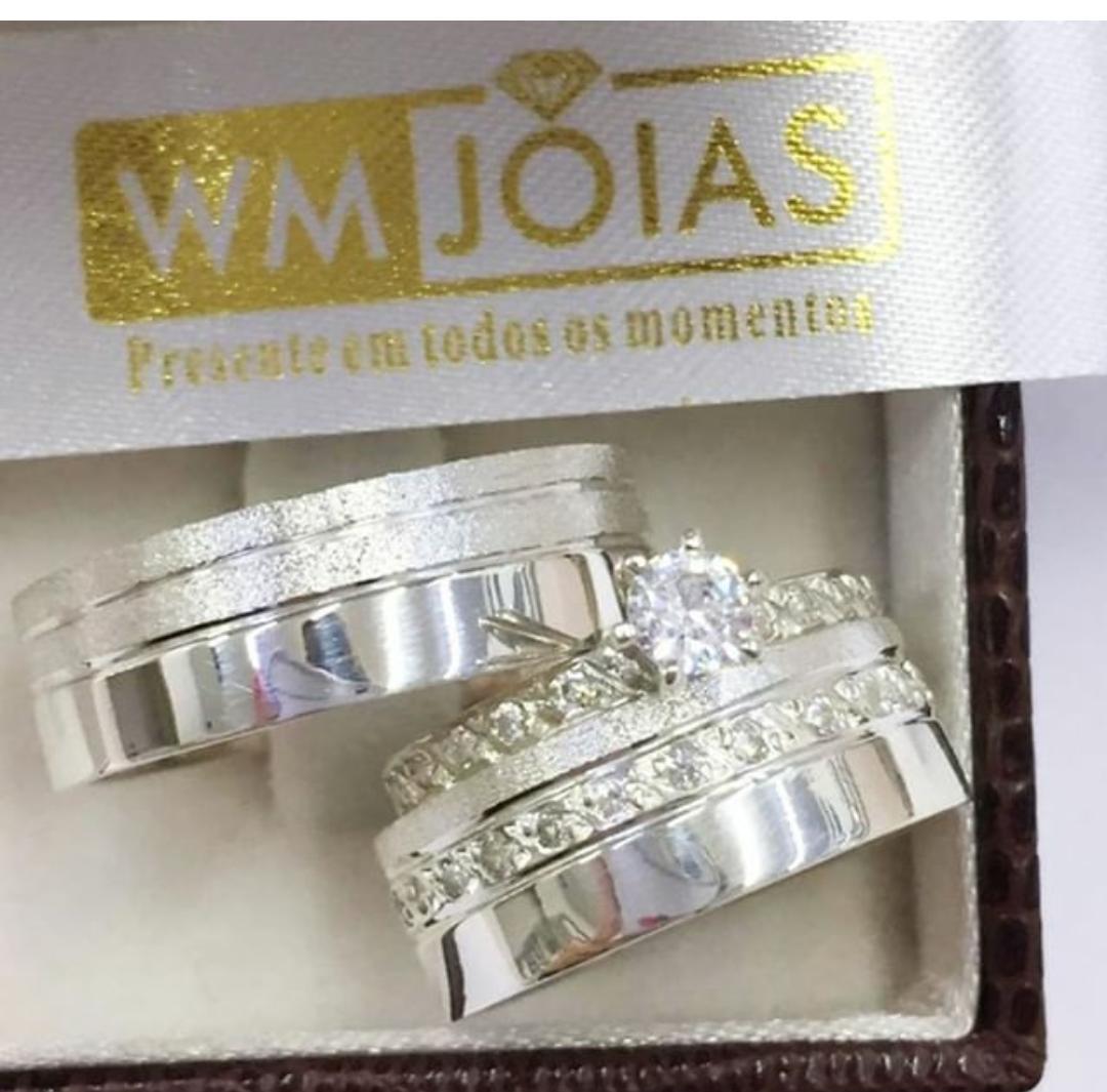 Aliança de namoro e anel solitario  Peso 10 gramas Largura 6mm - WM10224