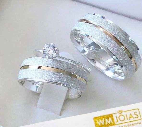 Aliança de namoro e anel solitario  Peso 12 gramas Largura 7mm - WM10037