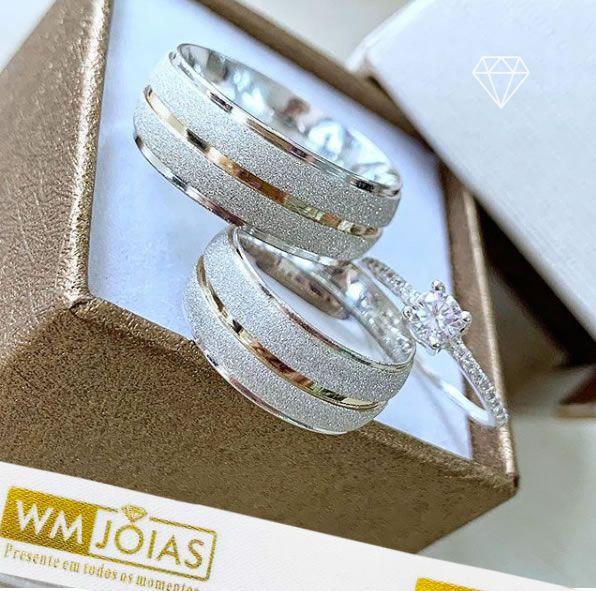 Aliança de namoro e anel solitario  Peso 12G  Largura 7mm - WM10142