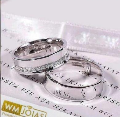 Aliança de namoro em prata 950   Peso 14 gramas Largura 7mm - WM10201