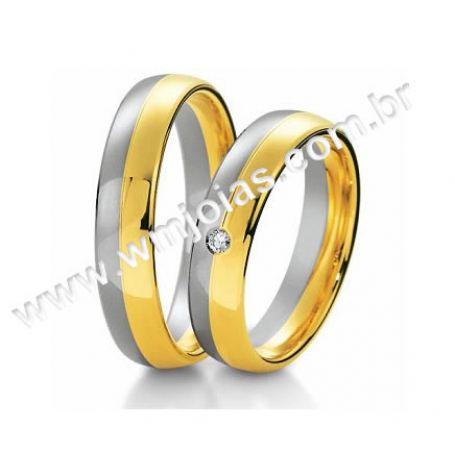 Aliança de noivado, casamento e bodas ouro e prata 5mm WM3114