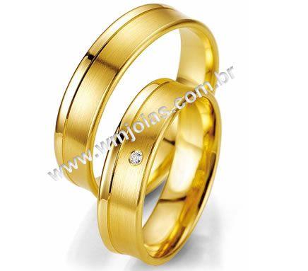 Aliança de noivado e casamento 18k 750 WM2006