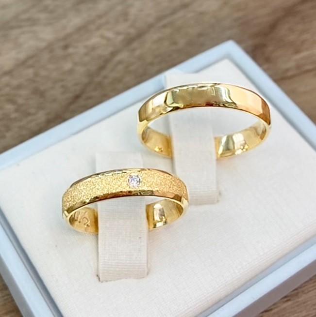 Aliança de noivado e casamento  chanfrada 8 gramas WM10292