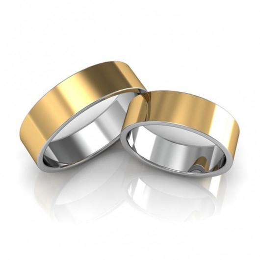 Aliança de noivado e casamento Quadrada 8mm - WM10309