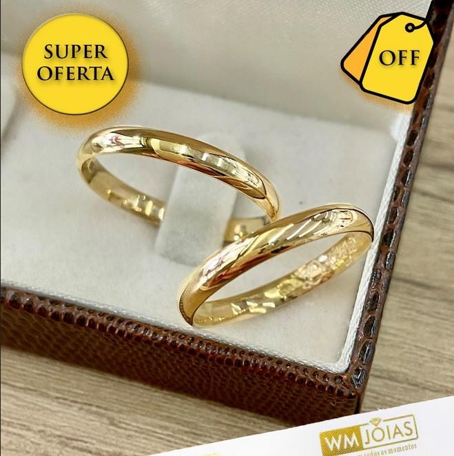 Aliança de noivado em ouro amarelo 18k 750  Peso 2 Largura 2mm - WM10042