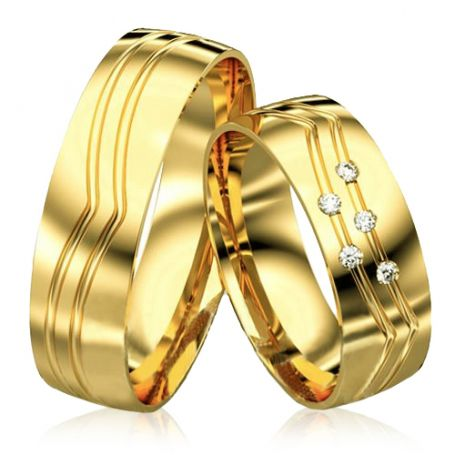 Aliança de noivado grossa em ouro amarelo 7 mm e 12 a 14G WM3091