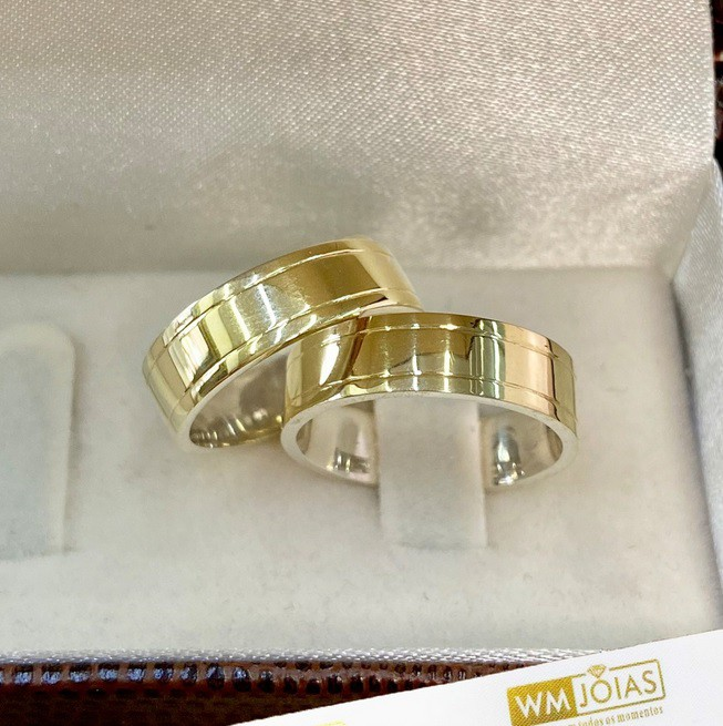 Aliança de noivado prata e ouro WM10271