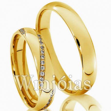 Aliança de ouro 18k 9G 4,5 mm-  WM2997