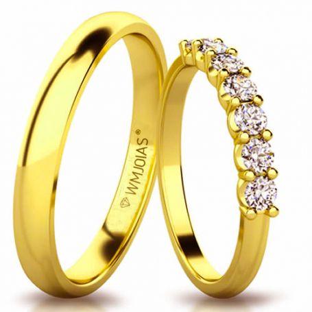 Aliança de ouro blessed WM3154