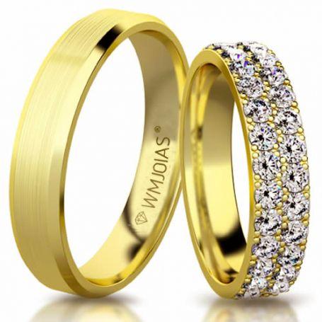 Aliança de ouro celeste WM3174