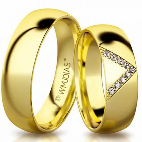 Aliança de ouro crystalis WM3201