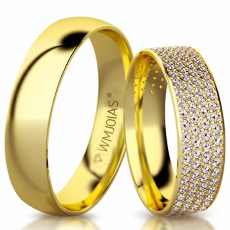 Aliança de ouro Shell WM3165