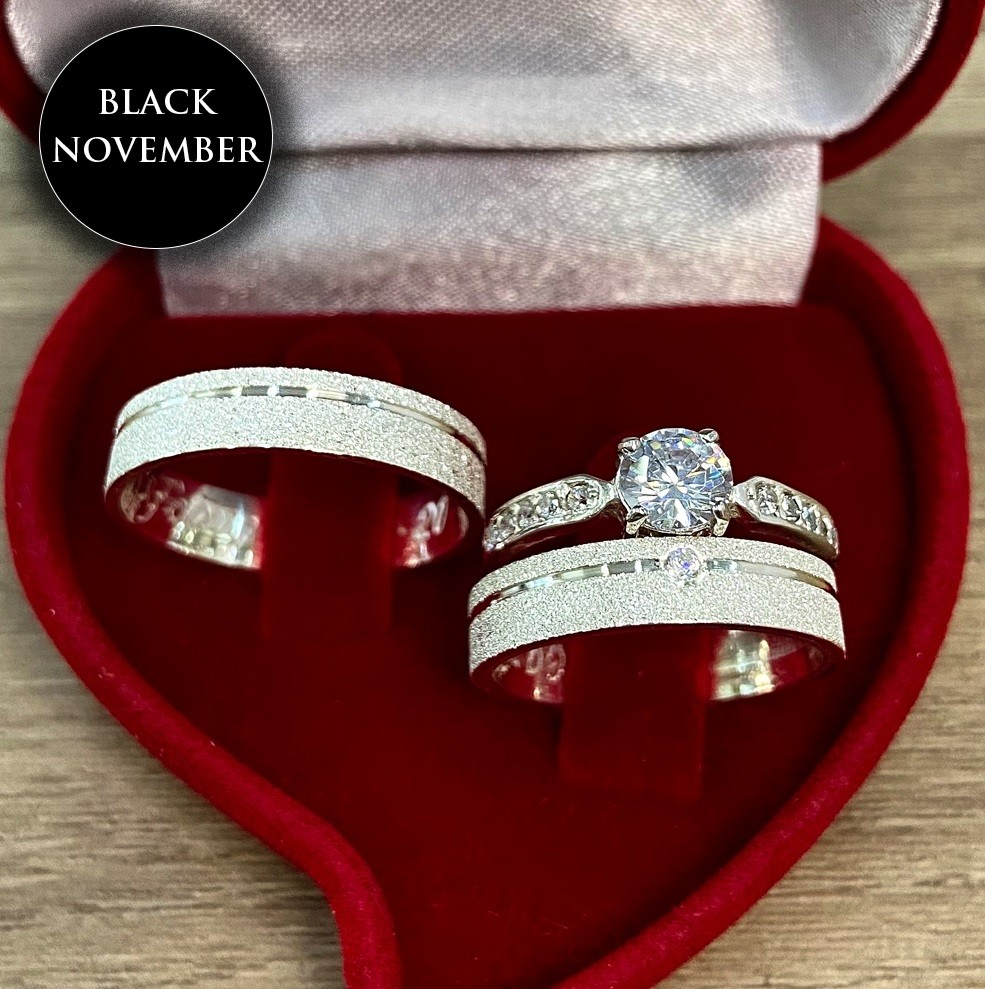 Aliança de prata compromisso com anel WM10261