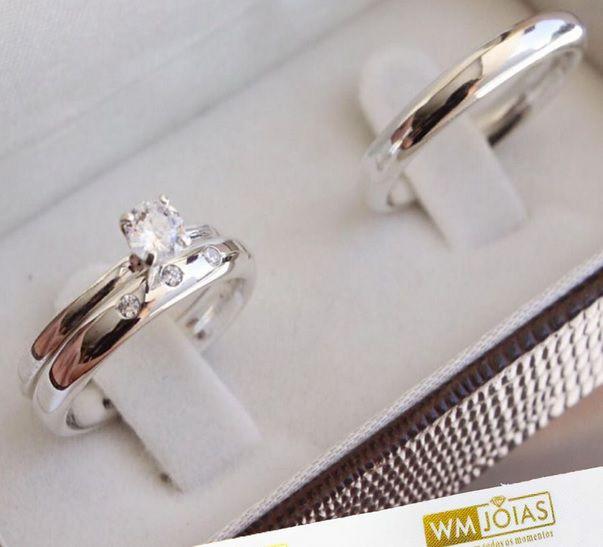 Aliança de prata lisa com anel  solitário WM10231