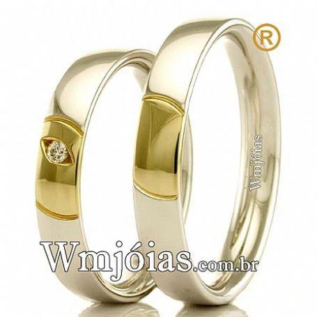 Aliança de prata para namoro e compromisso com 4,5 mm  WM3118