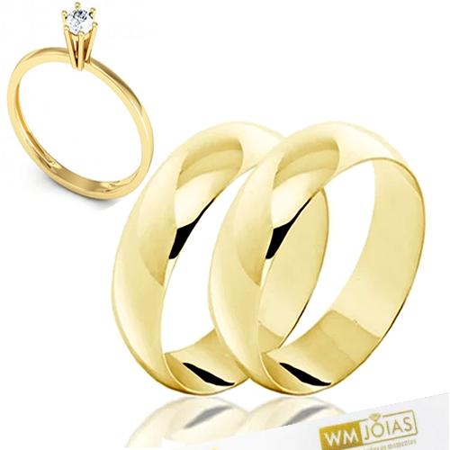Aliança em ouro 8 mm com anel solitário WM10282