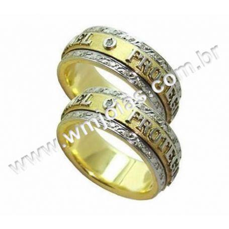 Aliança em ouro Amarelo e Branco 18k WM2191