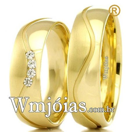 Aliança em ouro com 5mm de largura e peso entre 9 a 11 G WM3103
