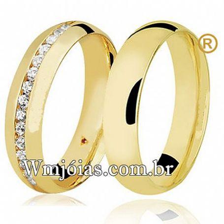 Aliança em ouro modelo tradicional com pedras com 5mm e peso 10 a 12 G WM3112