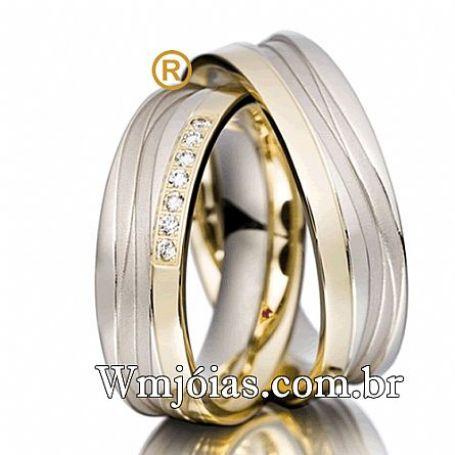 Aliança em prata com ouro modelo trabalhado com 7mm e 12 a 14 G WM3102