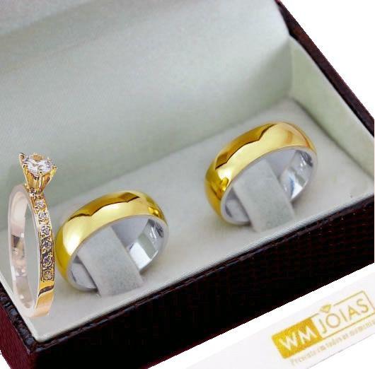 Aliança lisa e anel solitário metal nobre 12 gramas WM10210