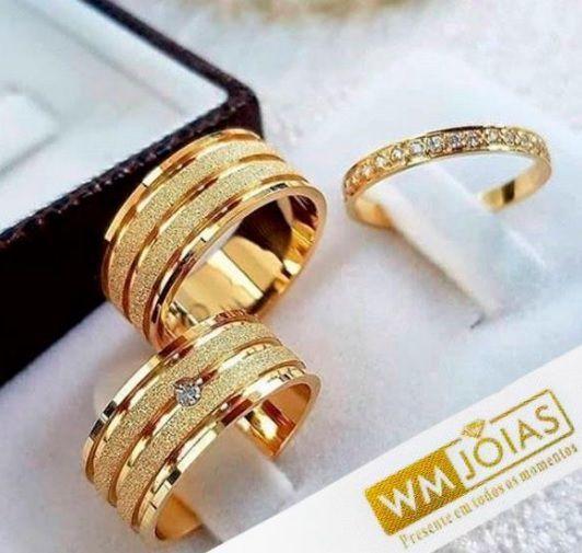 Aliança mais aparador ouro amarelo 18k  Peso 12 gramas  Largura 7mm- WM10116