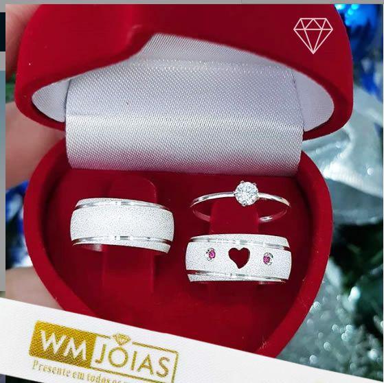 Aliança namoro coração vazado + anel  16 G Largura 8mm - WM10132
