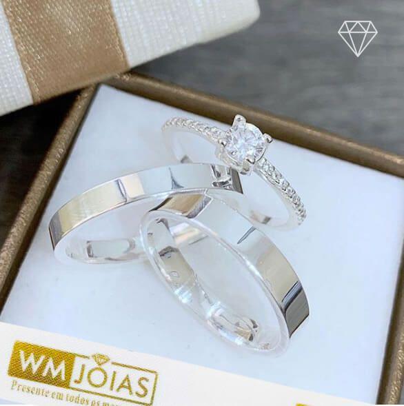 Aliança namoro prata + anel   Peso 6g  Largura 4m - WM10154