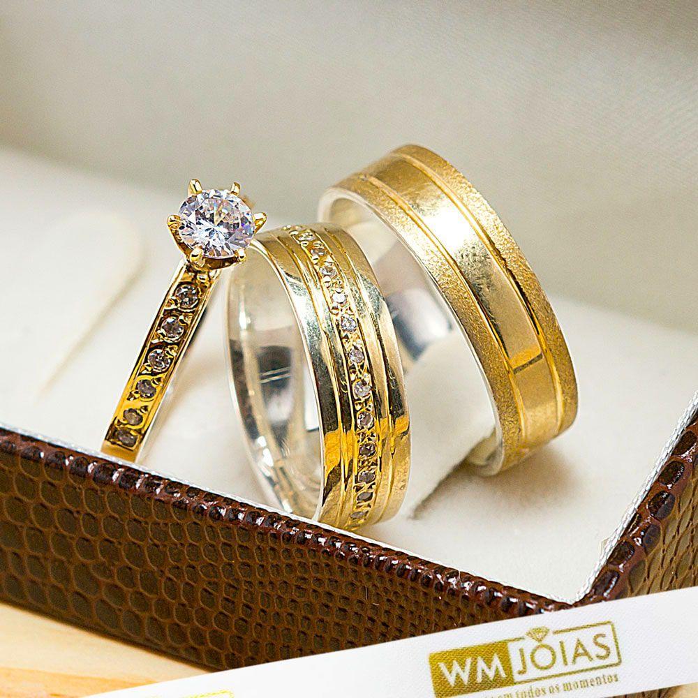 Aliança noivado, casamento, bodas em ouro e prata WM10213