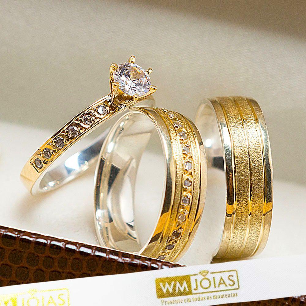 Aliança noivado e casamento com anel solitário metal nobre ouro/prata WM10207