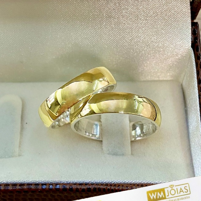 Aliança ouro e prata abaulada com 6 mm de largura WM10265