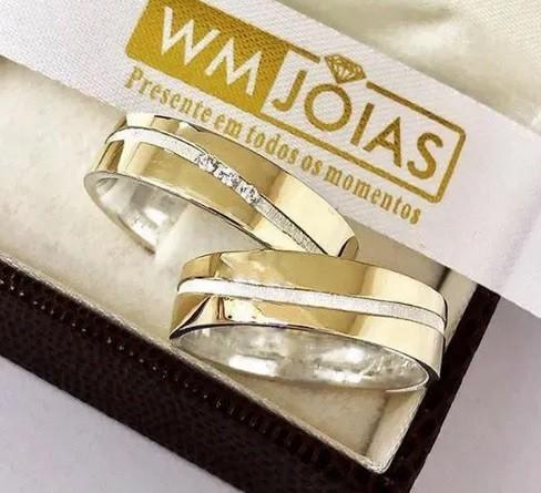 Aliança personalizada ouro 18k e prata 950- WM2563