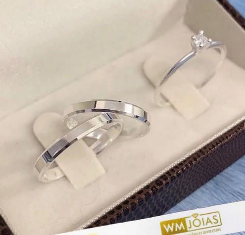 Aliança prata quina quebrada  3,5mm e anel solitário   WM10223