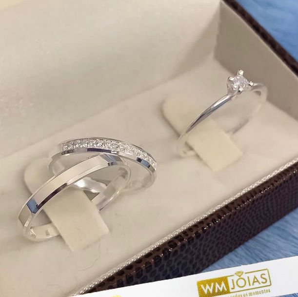 Aliança quina quebrada com zircônias   2mm e anel solitário   WM10229