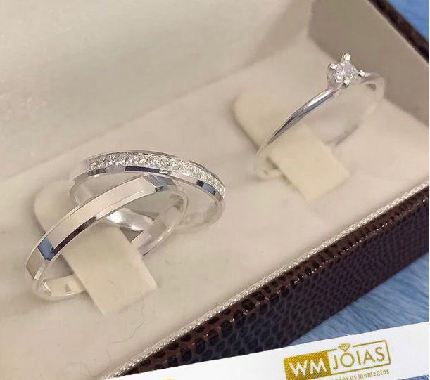 Aliança quina quebrada com zircônias   3,5mm e anel solitário   WM10229