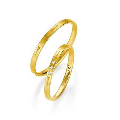 Alianças Baratas Casamento Ouro Acabamento Liso 3mm - WM9287