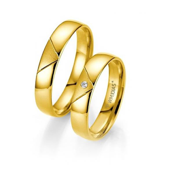 Alianças Casamento Ouro Acabamento Liso e Fosco 4mm - WM9299