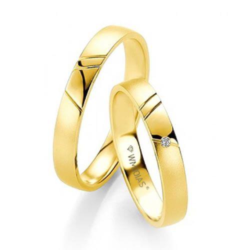 Alianças Casamento Baratas Ouro Acabamento Liso 4mm - WM9317