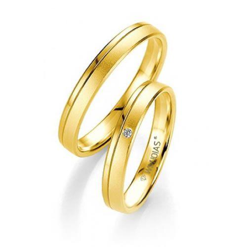 Alianças Baratas Casamento Ouro 18k Acabamento Liso e Fosco 4mm - WM9321