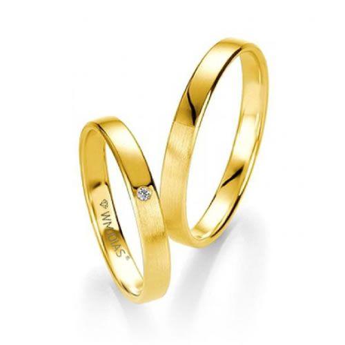Alianças de Noivado Baratas em ouro 18k e Diamante 3,5mm -3,5 G - WM9323