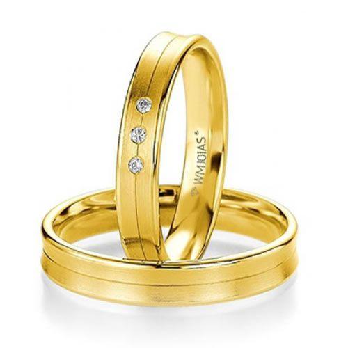Alianças Baratas  de casamento e noivado - 4,3 gramas e 4 mm- WM9339