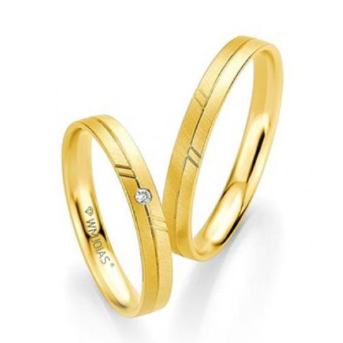 Alianças Baratas em ouro para noivado - 3,5 gramas o par e 3mm - WM9345