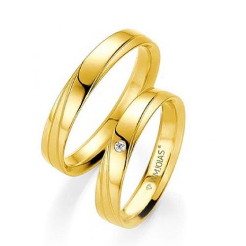 Alianças Baratas de noivado com diamante 4,1mm e 4,2 gramas o par- WM9351