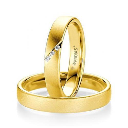 Alianças Baratas de noivado com diamantes 4,5mm e 4,3 gramas o par- WM9271